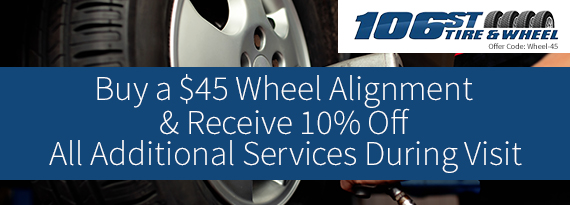 Print this coupon for a $45 Wheel Alignment and receive 10% off all services during your visit.